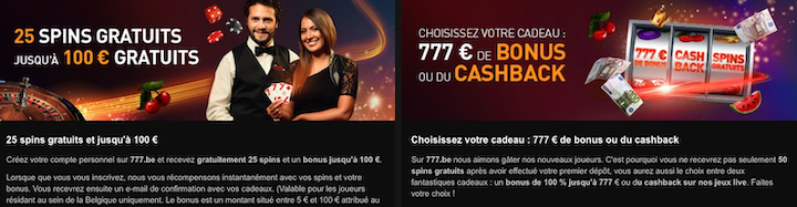 Offre à l'inscription Casino777